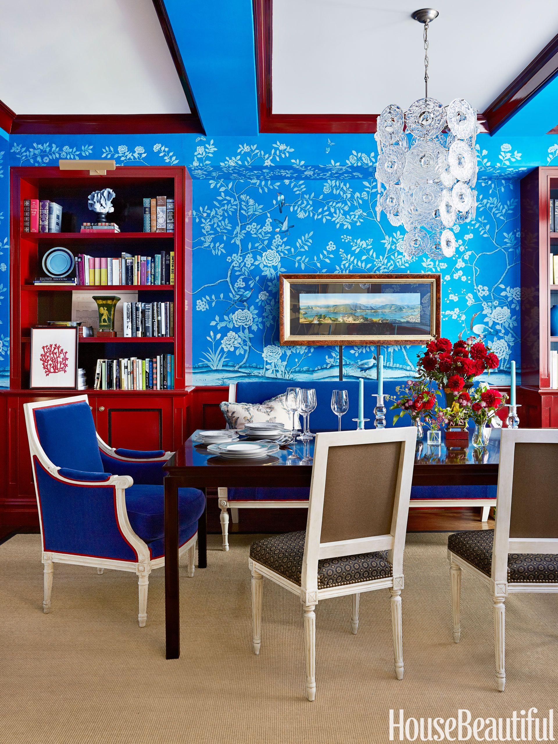 Blue and red dining