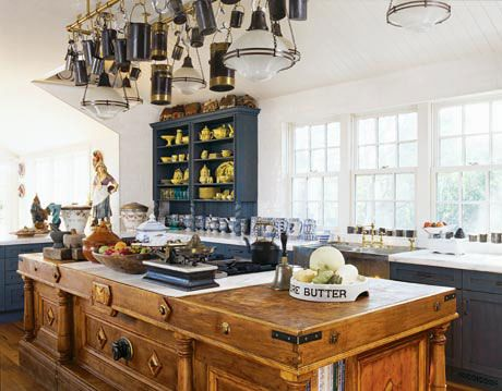 butcher block island in nantucket kitchen designed by hilary musser