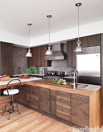 Modern Wood Kitchen Walnut Cabinets