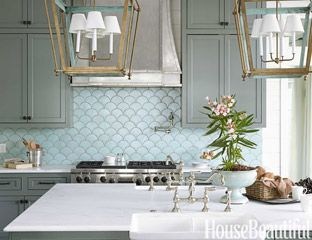 blue green wall tile