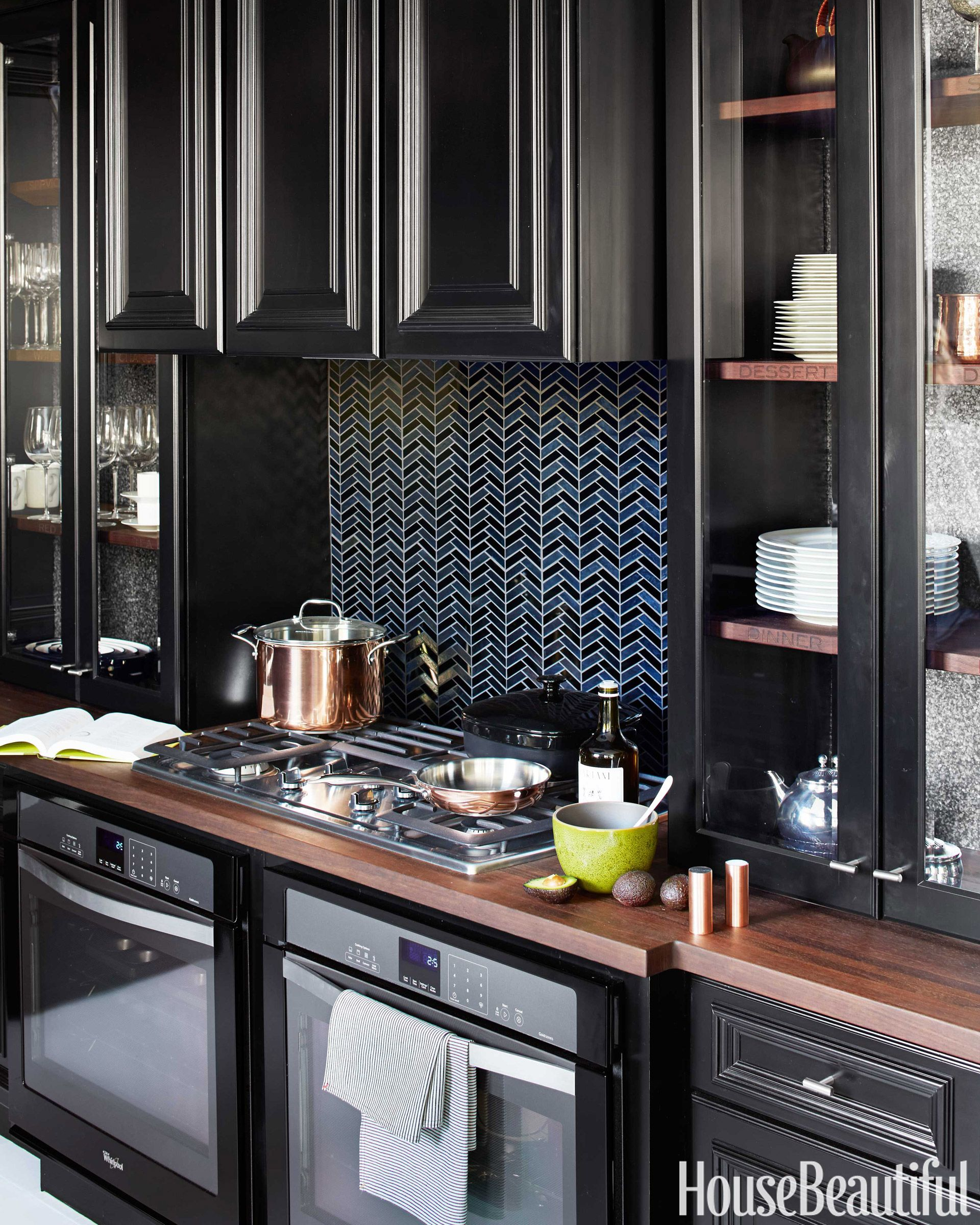 whirlpool gold gas cooktop & 10 Black Kitchen Cabinet Ideas - Black Cabinetry and Cupboards