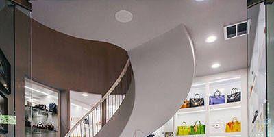 Interior design, Ceiling, Floor, Wall, Interior design, Glass, Fixture, Space, Light fixture, Stairs,