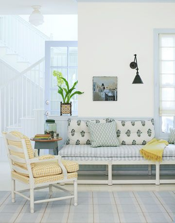 blue white and yellow living room with scandinavian style