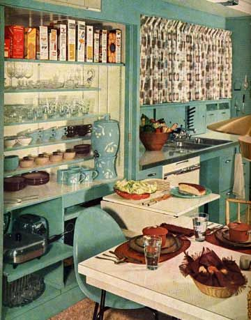 Teal Colored Kitchen