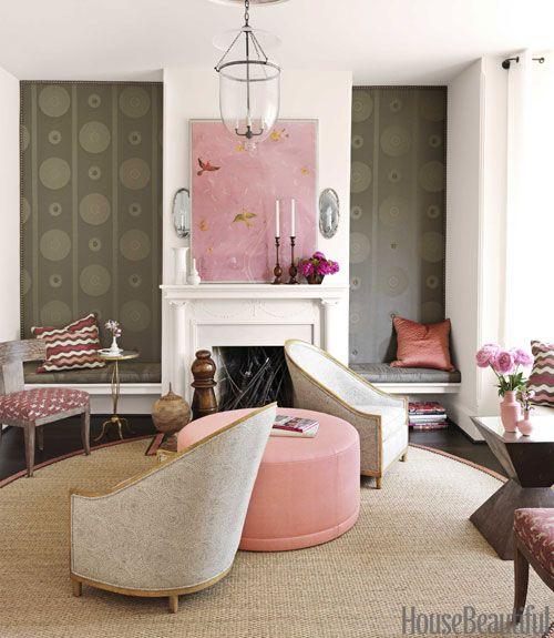 barry dixon interiors of victorian row house pink and brown room decor - Barry Dixon Interiors