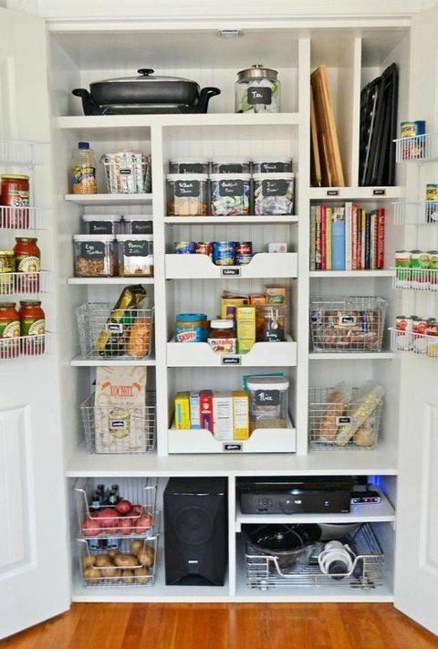 Shelving, Room, Shelf, Major appliance, Wall, Home appliance, Freezer, Kitchen appliance, Wood flooring, Refrigerator,