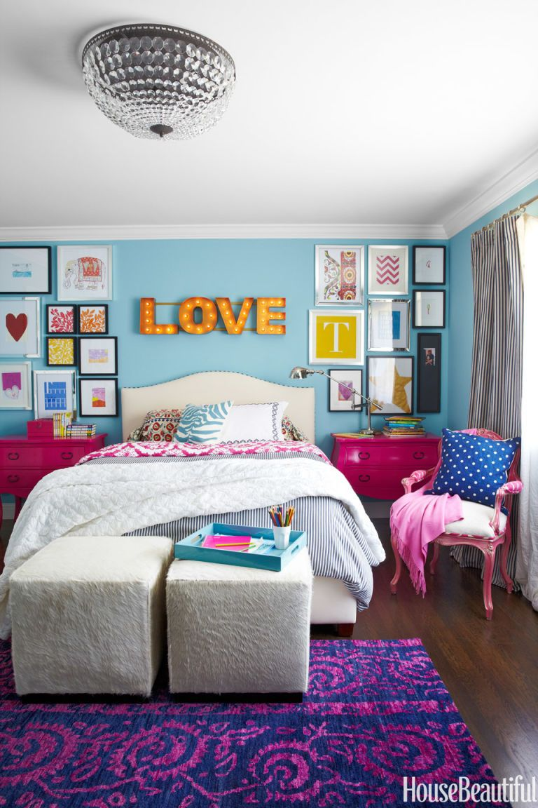 pink accents girls bedroom