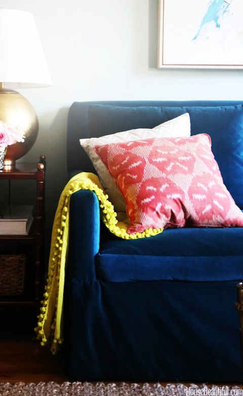 Blue, Room, Interior design, Textile, Home, Lamp, Linens, Interior design, Bedding, Pillow,