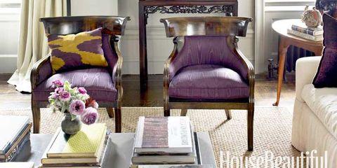 purple regency armchairs