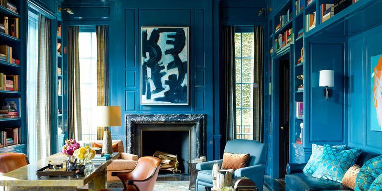Merveilleux Peacock Blue Library Walls