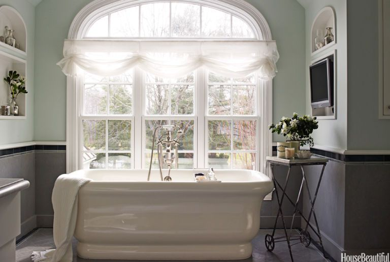 Delicieux Light Green Master Bath With Freestanding Tub Next To Large Window