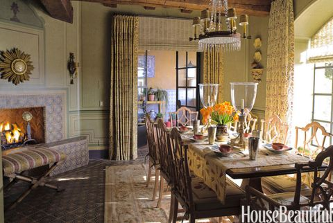 Room With Fireplace And Wood Beams On Ceiling Reed Davis French Country Green Dining