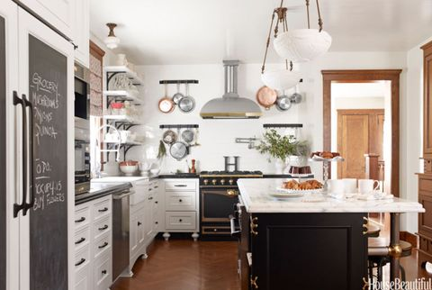 kitchen with white tile and island