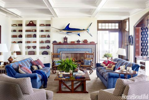 blue swordfish mantel display