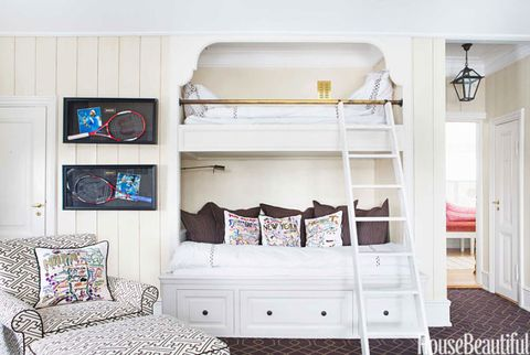 son's bedroom with built-in bunk beds