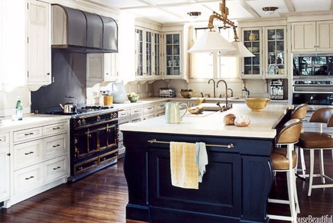 dark blue kitchen island