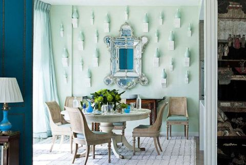 Room, Interior design, Furniture, Table, Turquoise, Interior design, Teal, Home, Chair, Lampshade,