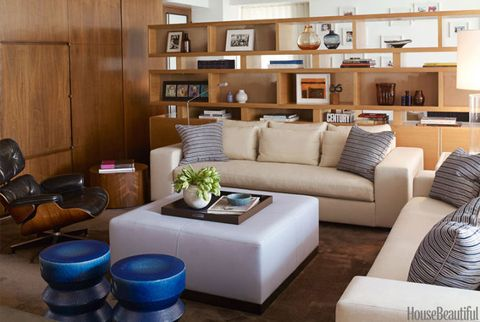 modern living room with organized shelving