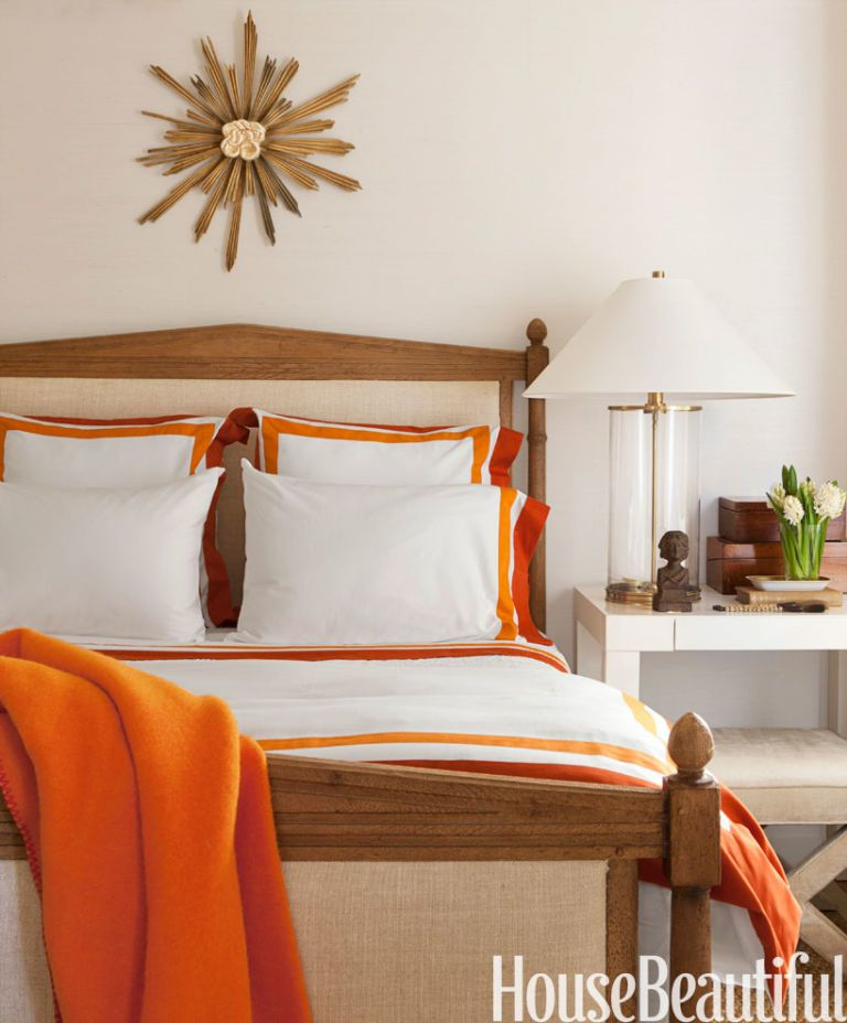 Guest Bedroom. Lisa Romerein. Orange Bedding Accents Brighten ...