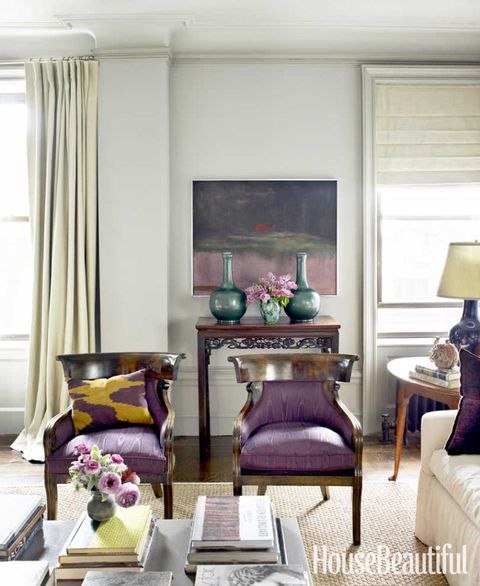 purple regency armchairs