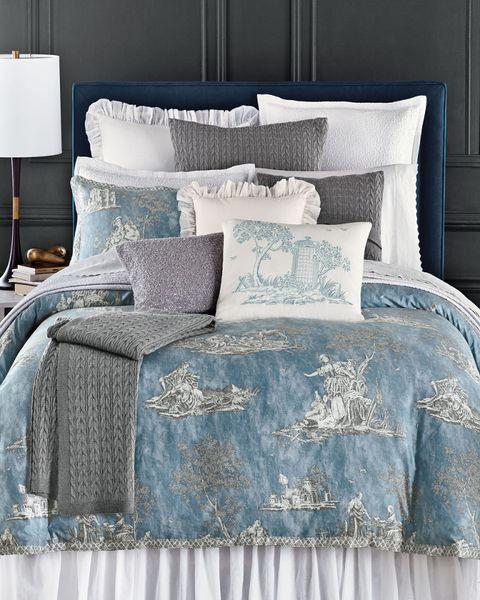 Blue, Room, Bedding, Interior design, Textile, Bedroom, Linens, Bed sheet, Aqua, Wall,