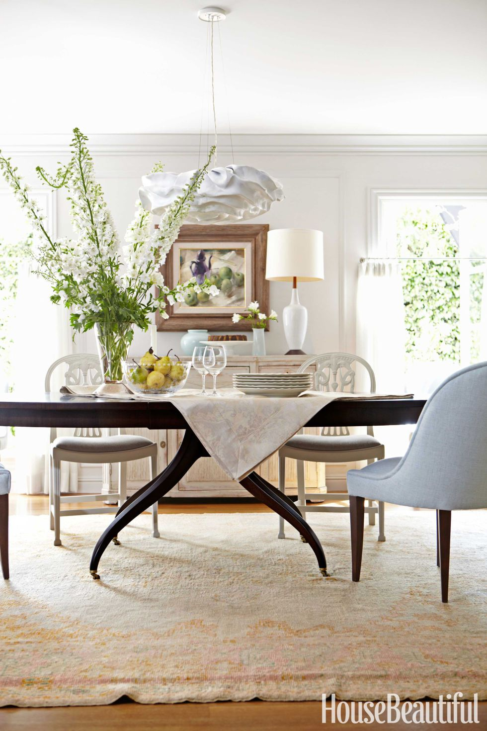 vintage white dining chairs