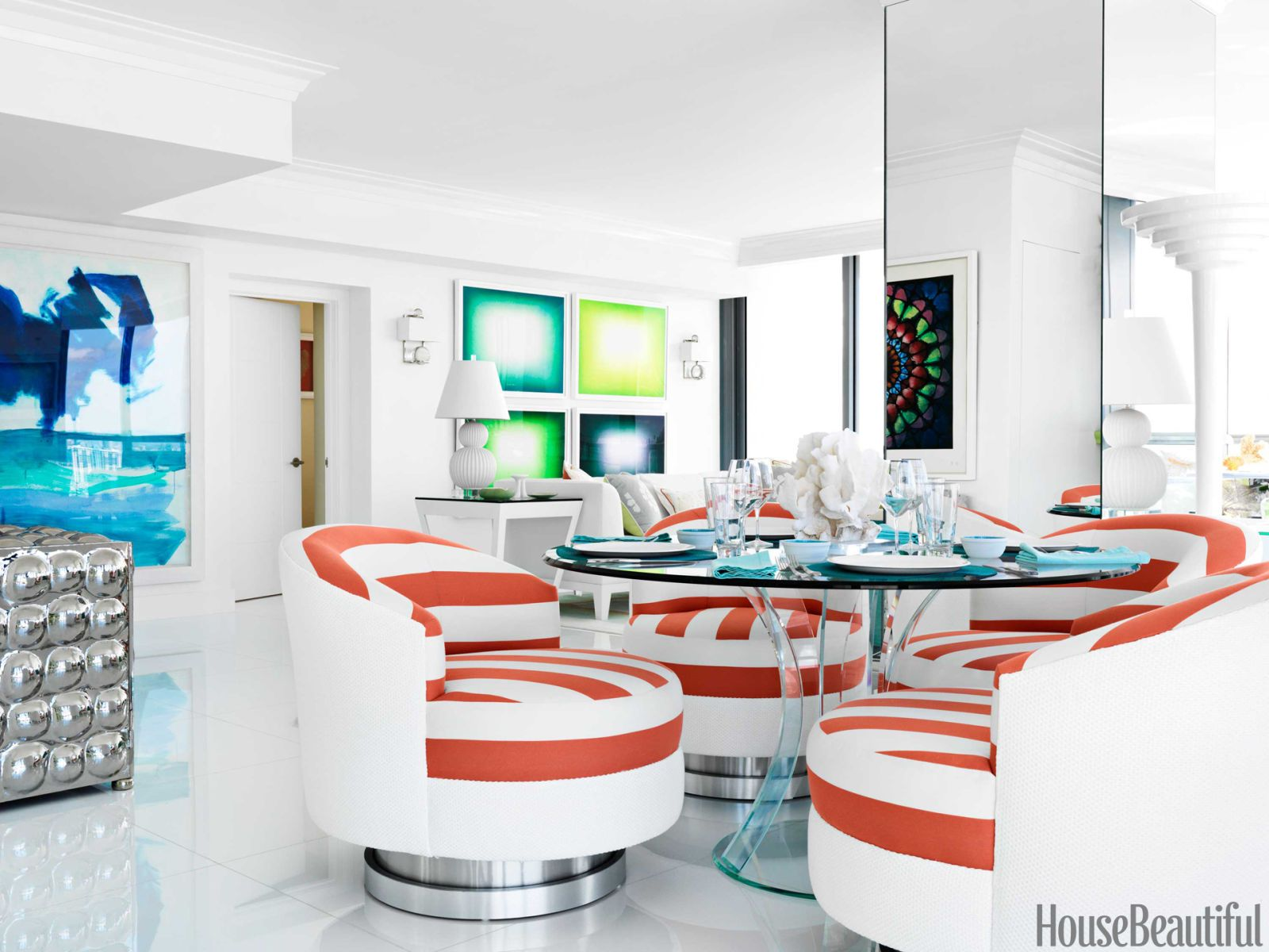orange striped dining chairs