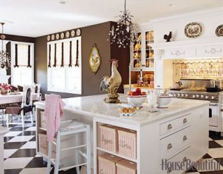 pink and brown kitchen