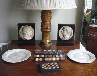 table with accessories and lamp