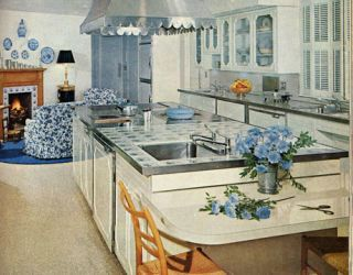 blue and white cottage kitchen from the 1960s