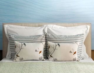 bed with traditional pillows