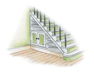illustration of bookshelves under a stairwell