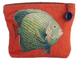 red cosmetic bag with a fish on it