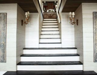 light and dark stained staircase