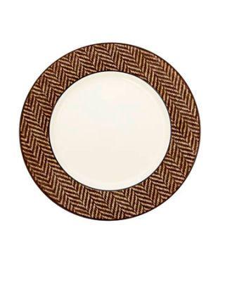 dish with herringbone pattern
