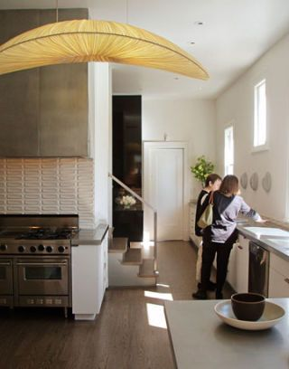silk wrapped ceiling light in kitchen