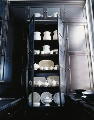 wedgwood and ironstone in kitchen pantry