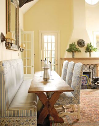 dining room banquette in victorian house in chicago