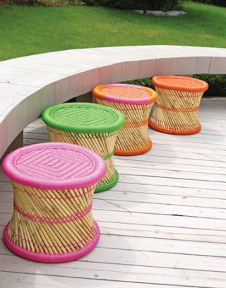 Bamboo outdoor stools