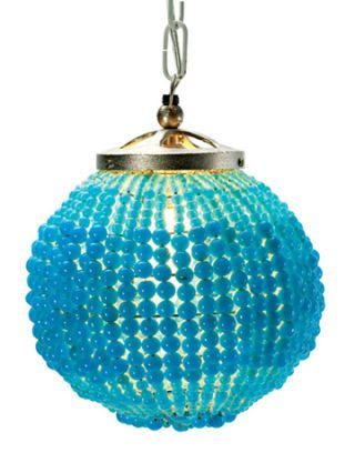 Hanging light covered in glass beads