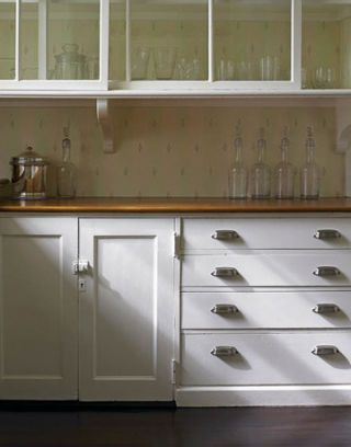 pantry with original sliding door uppers