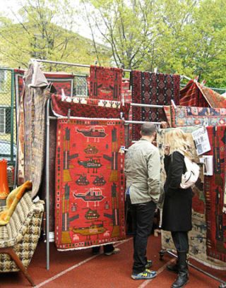 carpets at a flea market