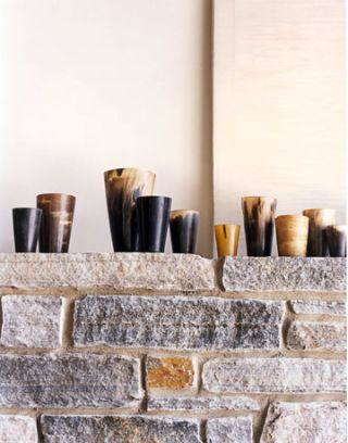 granite mantel with horn cups