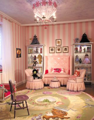 pink sitting area in a little girls room