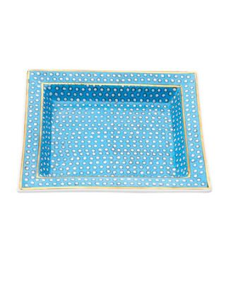 blue polka dot patterned tray