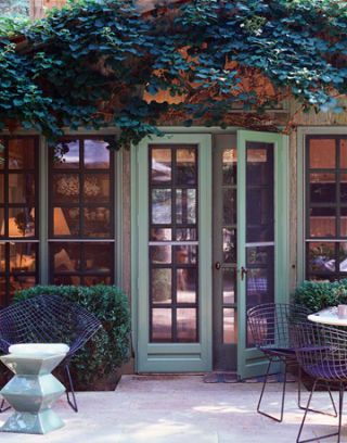 french doors with hanging vines