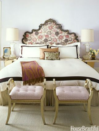 antique headboard & Red and White Decor - Romantic Decorating Ideas