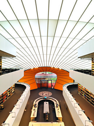 Architecture, Ceiling, Interior design, Orange, Engineering, Fixture, Parallel, Symmetry, Daylighting, Varnish,
