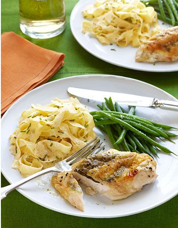 pasta with stuffed chicken and string beans