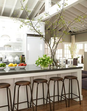 kitchen with counter stools